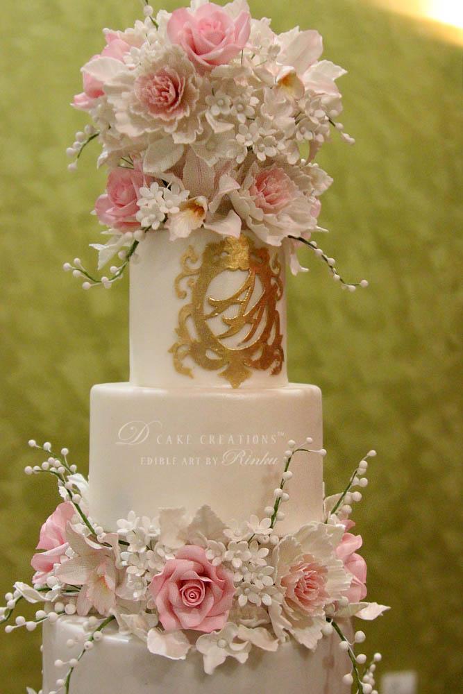 Five Tier Floral Wedding Cake