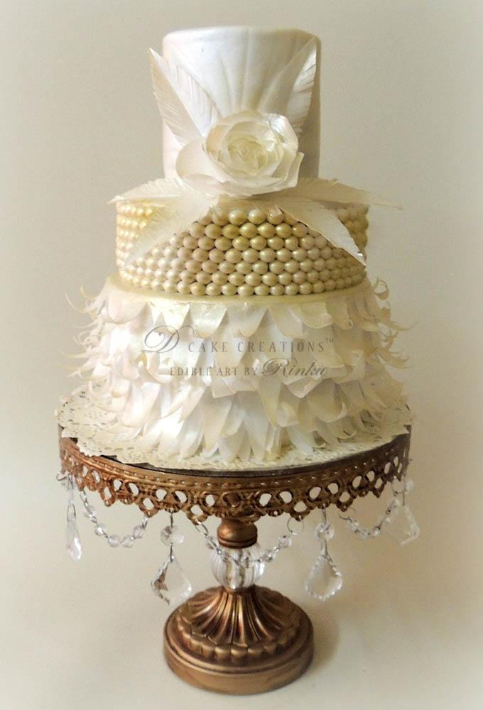 White & Gold Paper Ruffles Cake