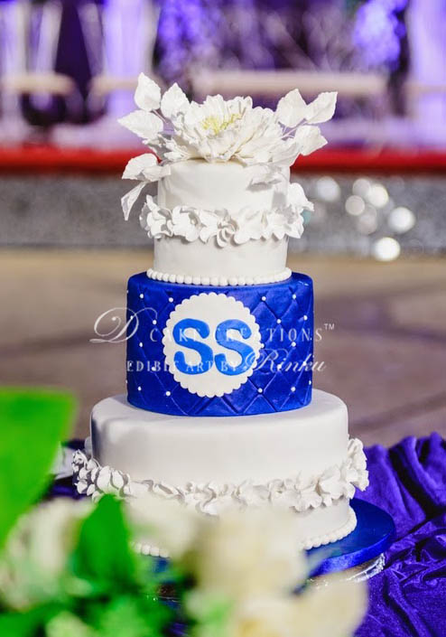 White & Blue Three Tier Wedding Cake