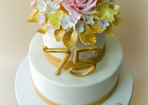 Floral 75th Birthday Cake
