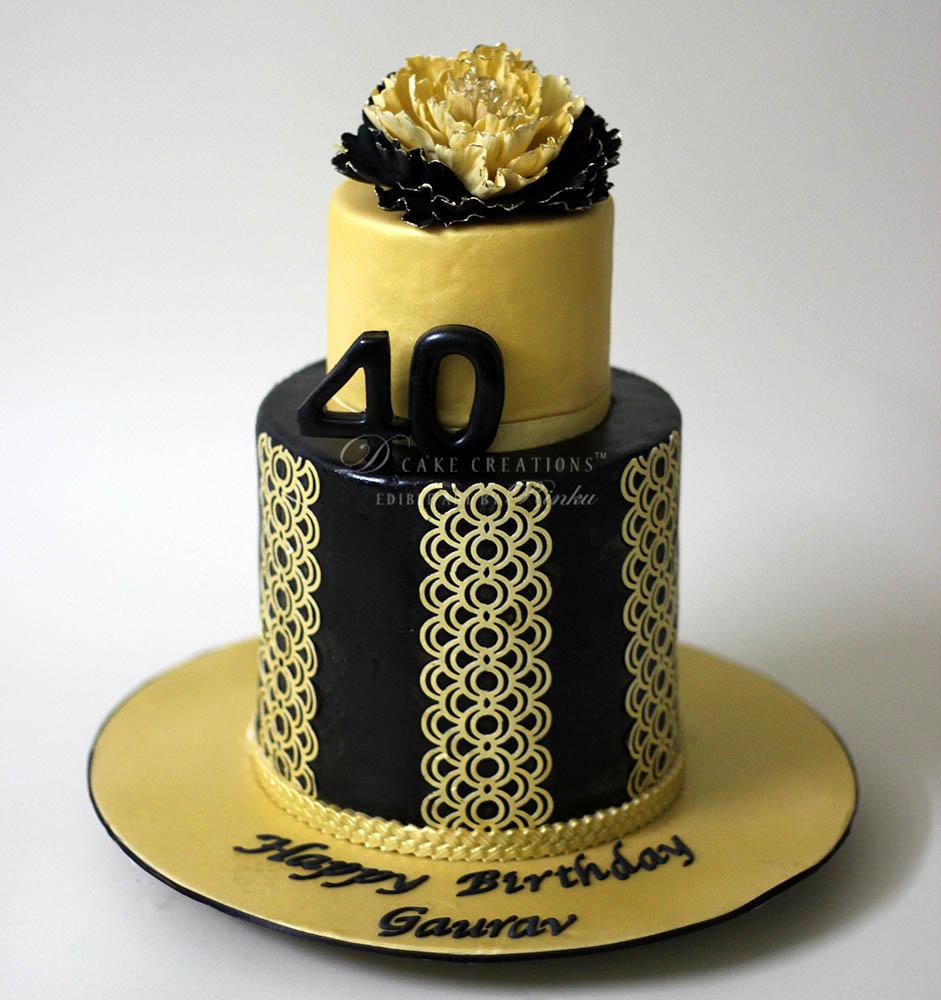 Black And Gold 50th Birthday Cakes Fondant Creativehobby Store