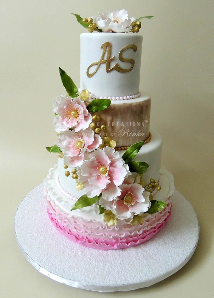 White & Pink Wedding Cake