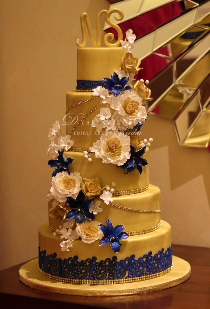Five Tier Golden Floral Engagement Cake