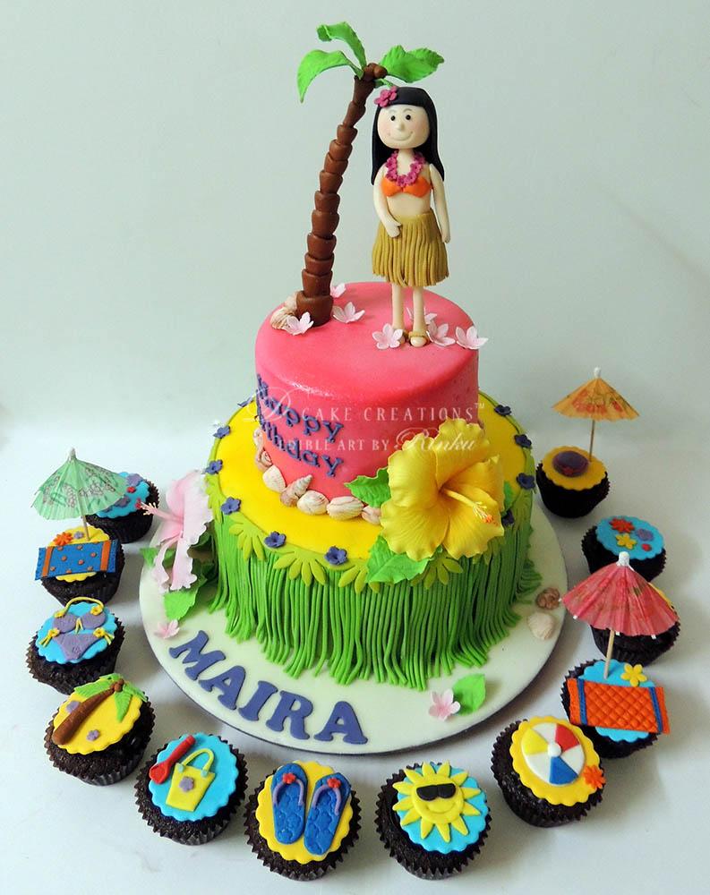 Hula Luau Birthday Cake
