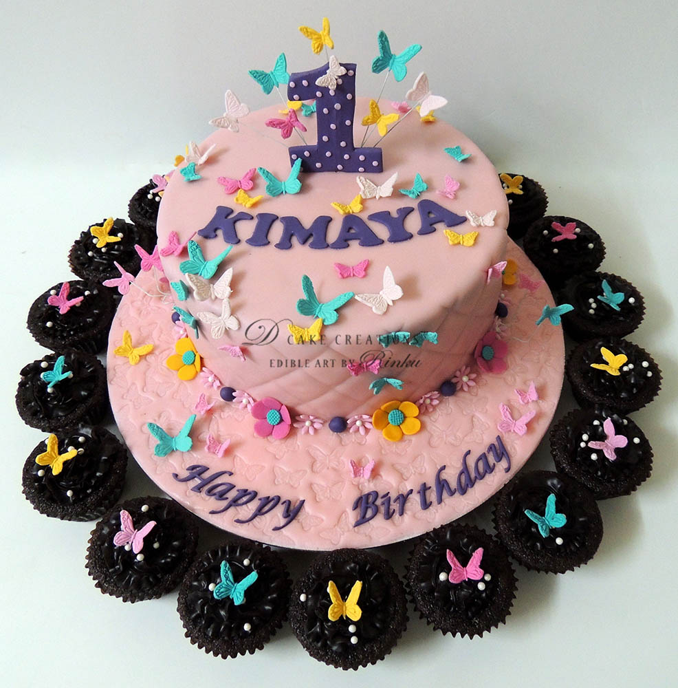 Butterfly Cake with Cupcakes