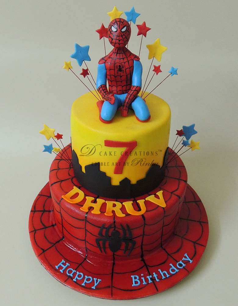 Two Tier Spider-Man Cake