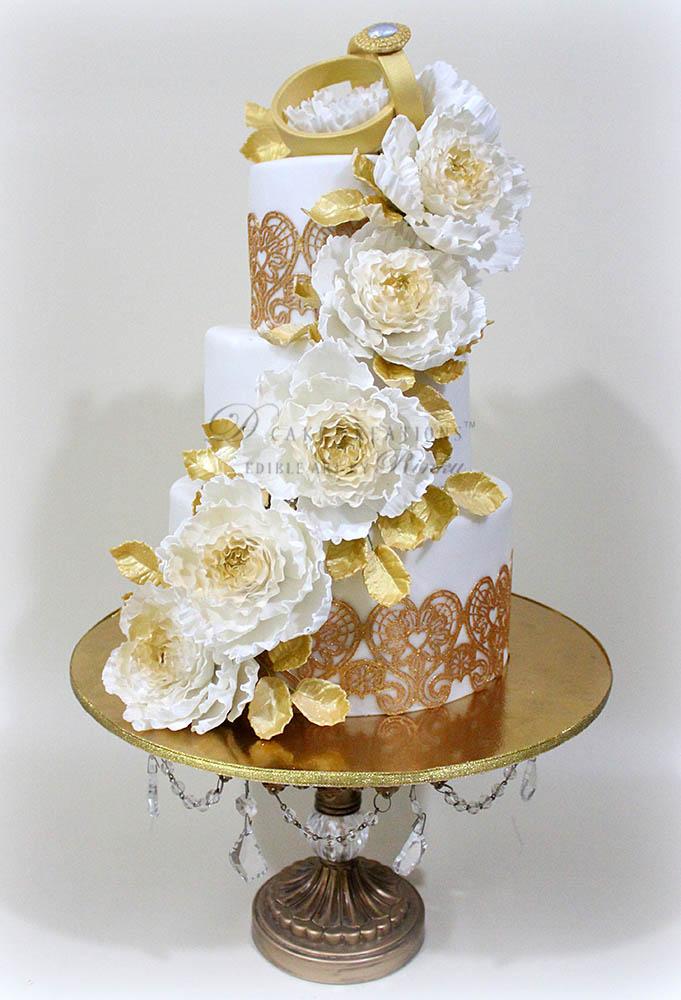 Gold Ring Topper Cake