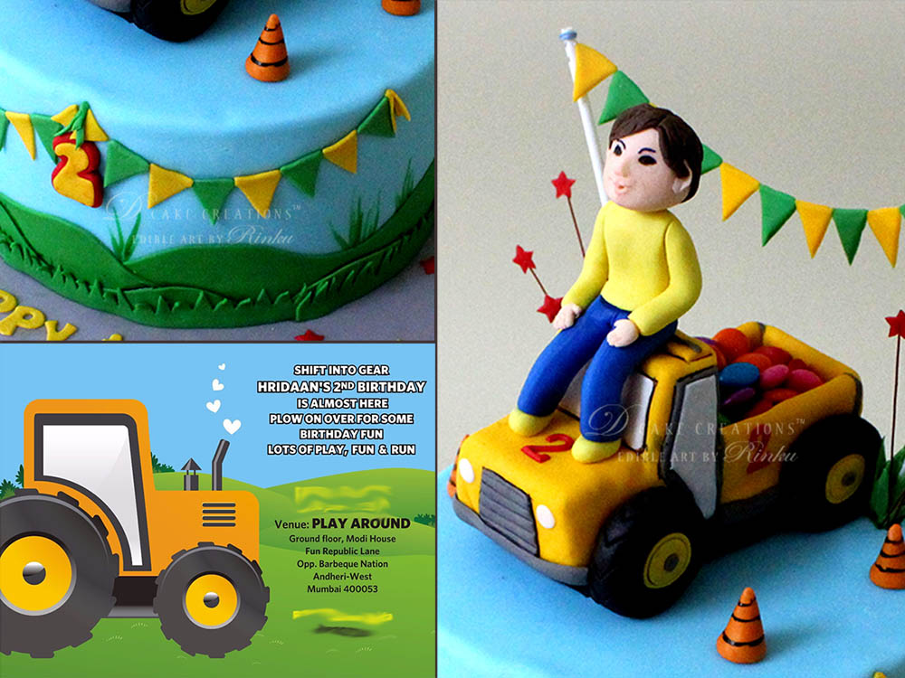 Mini Tractor Birthday Cake