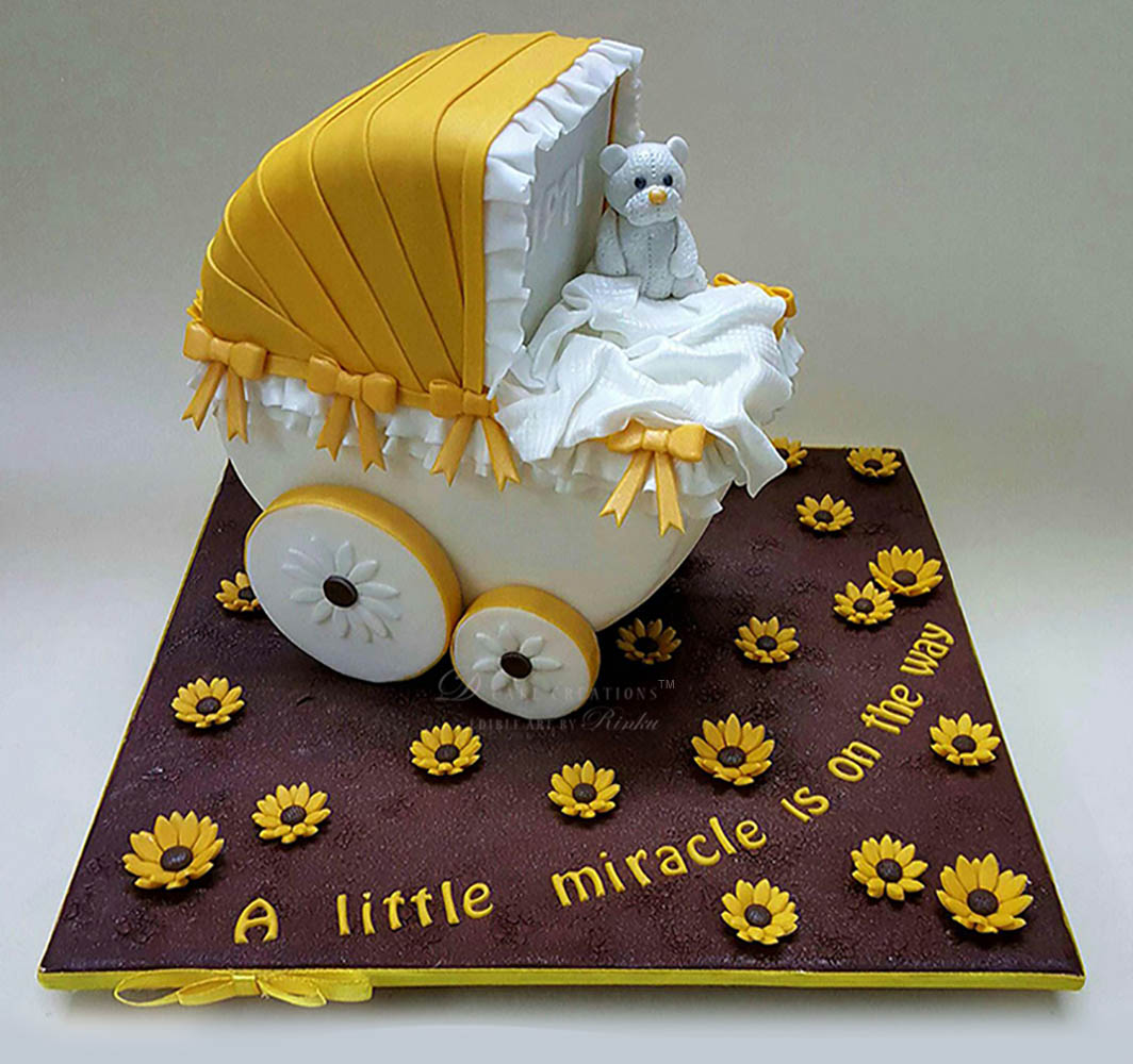 Rotating Baby Carriage Cake