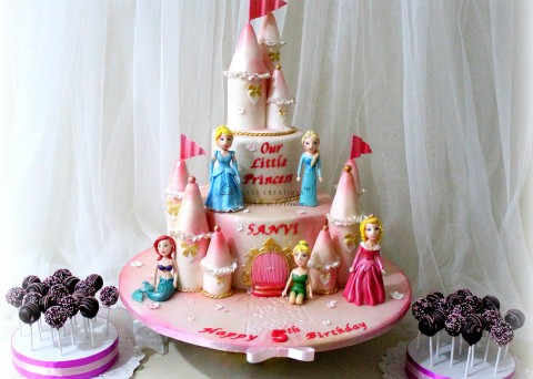 Princesses Pink Castle Cake