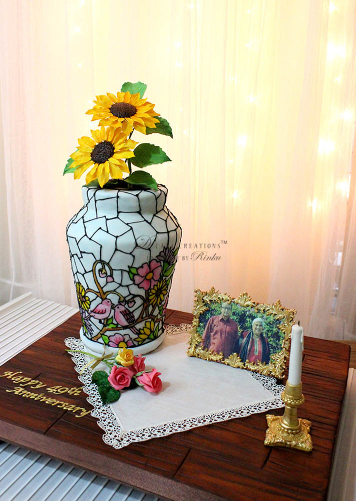 Stained Glass Flower Vase Cake