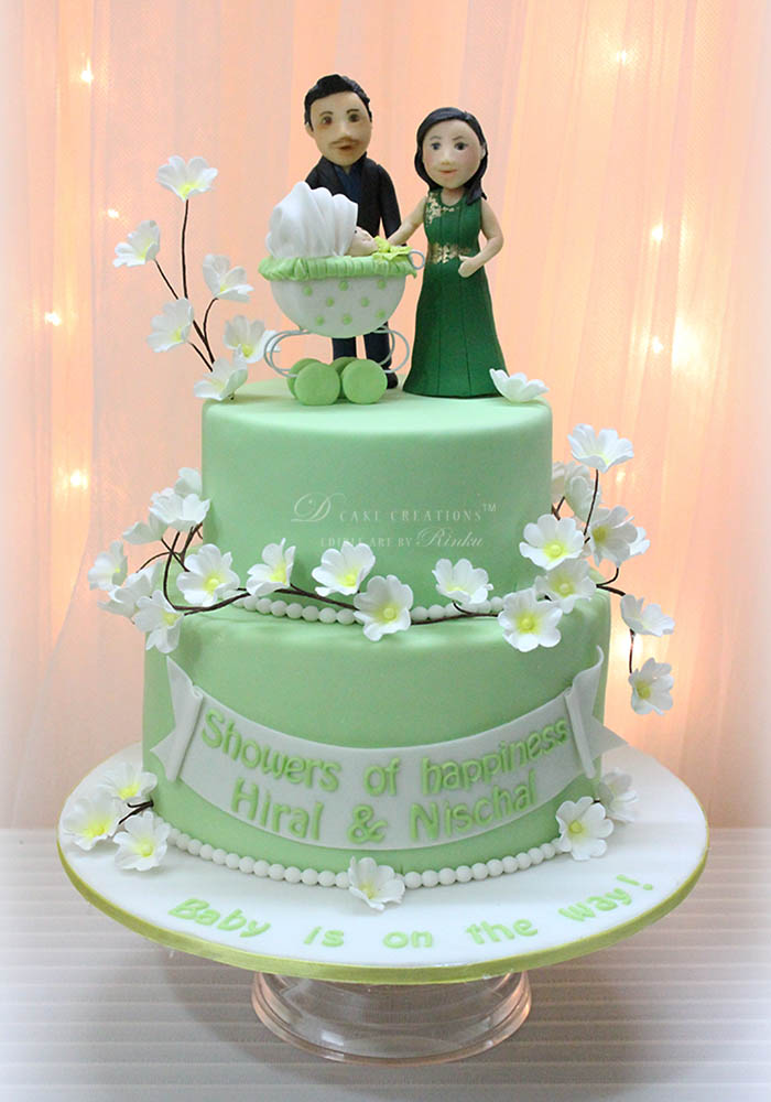 Green Baby Shower Cake