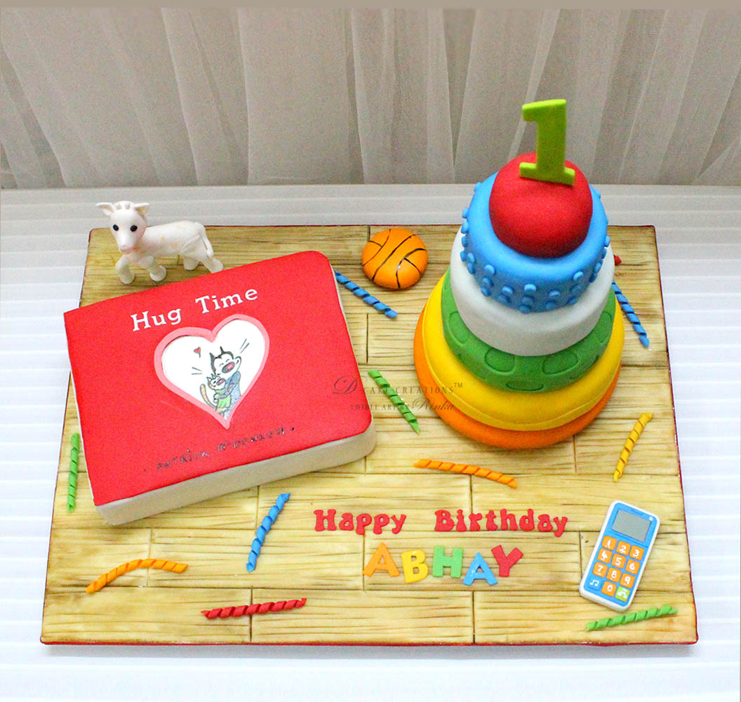 Favorite Toys Cake with edible Hug Time book