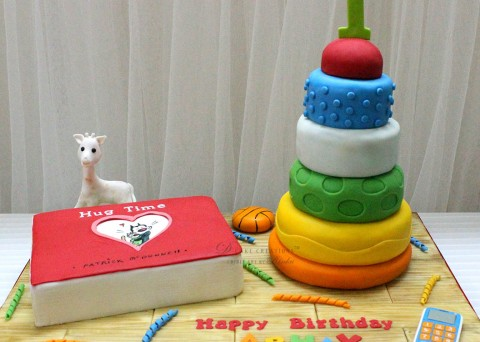 Favorite Toys Cake with edible Hug Time book