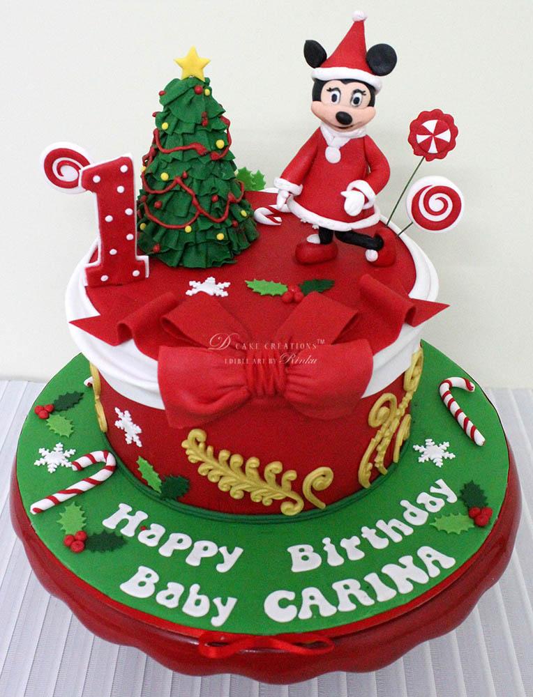 christmas theme birthday cake