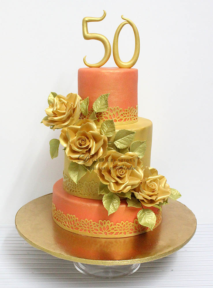 Peach Cake with Gold Roses