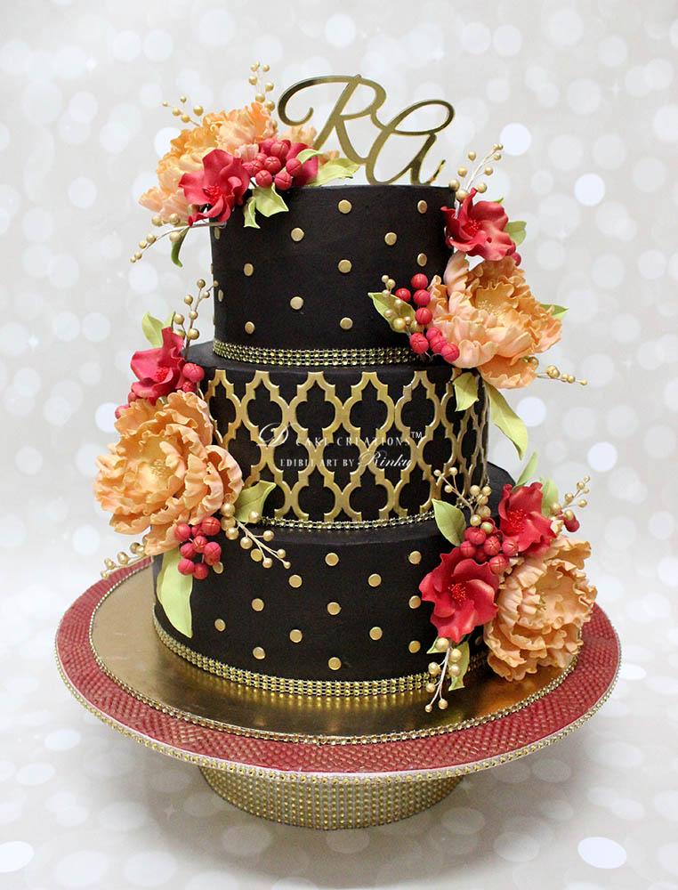 Chocolate Cake with Sugar Flowers