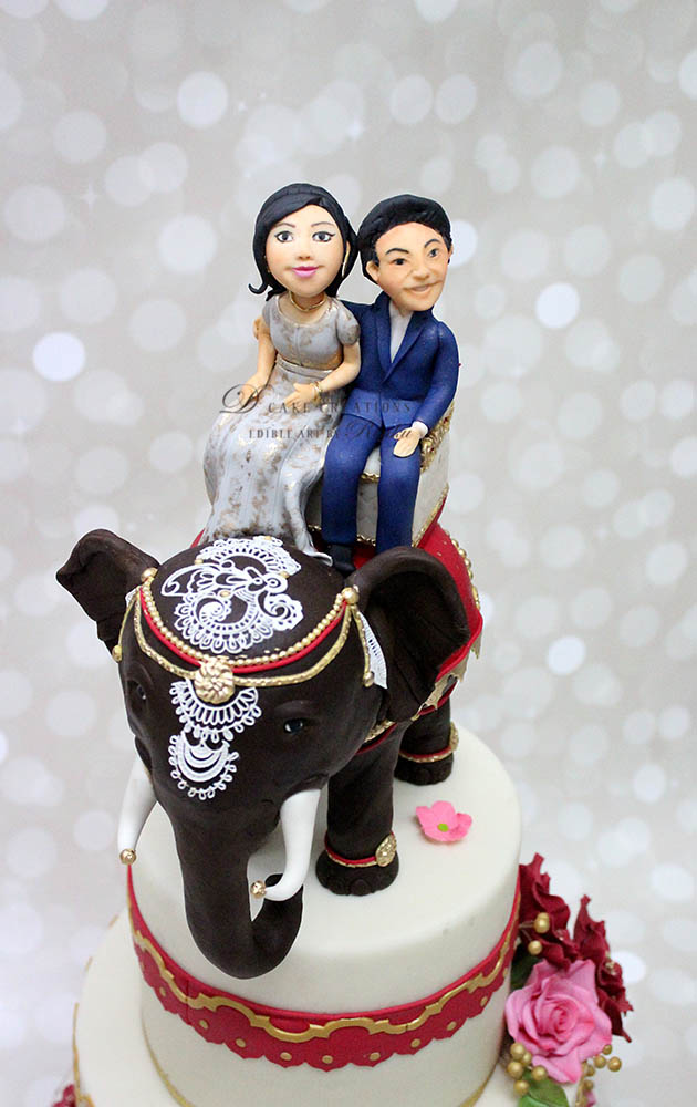 Indian Theme Engagement Cake