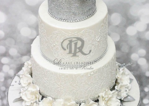 White & Silver Engagement Cake