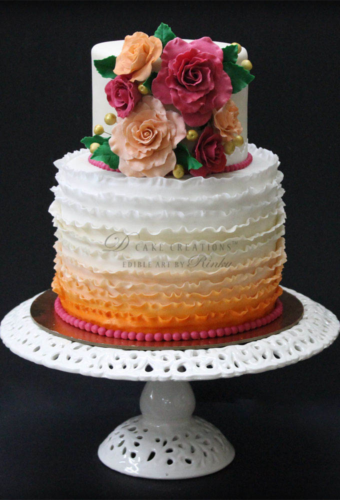 Two Tier Cake with Colourful Edible Roses