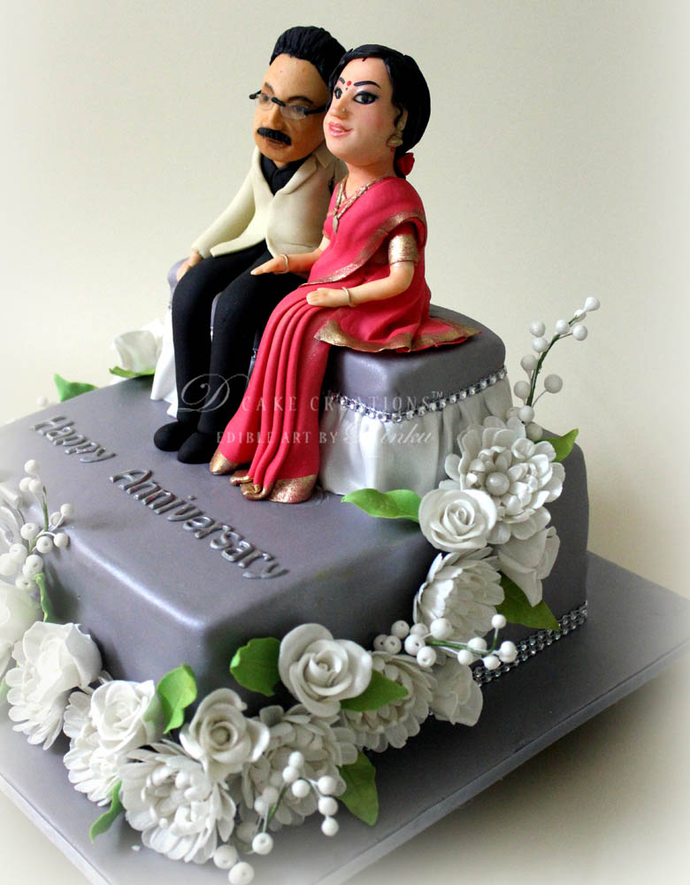 wedding picture caricature anniversary ideas - Personalised Cakes D Cake Creations