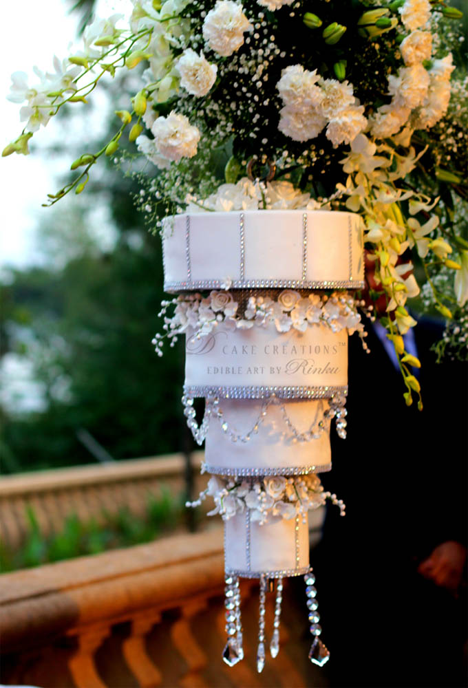 White Chandelier Wedding Cake