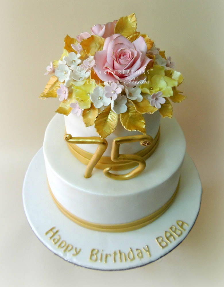 Floral 75th Birthday Cake