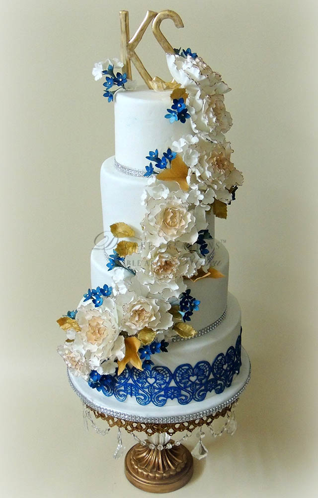 White & Blue 4 Tier Engagement Cake