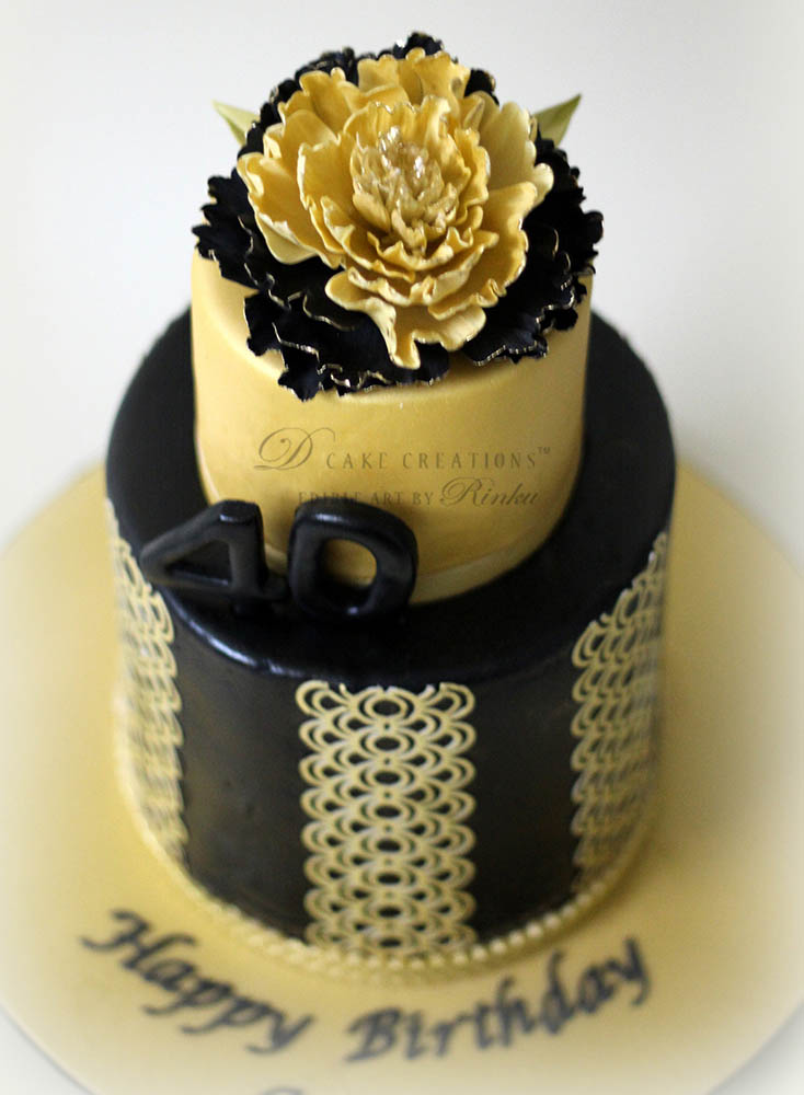 Black & Gold 40th Birthday Cake