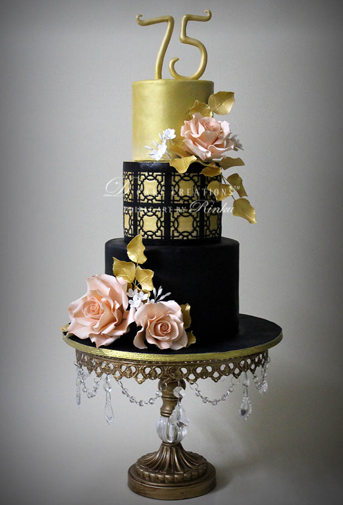 Black & Gold Theme Cake