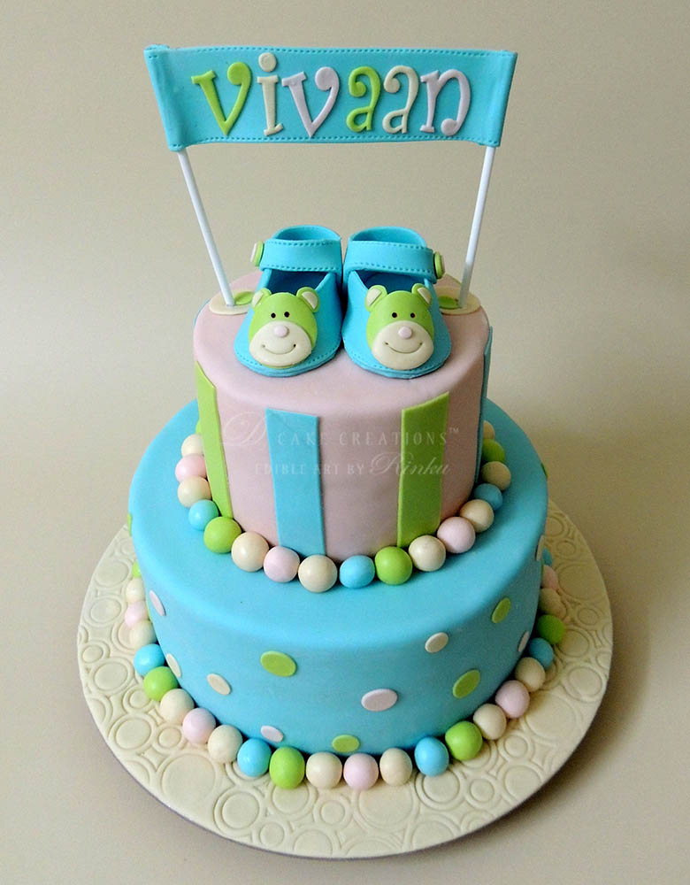 Booties Name Announcement Cake