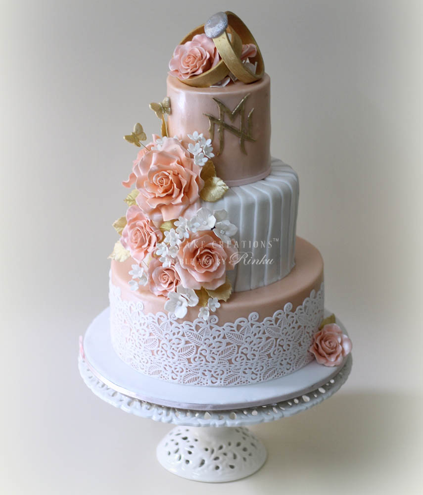 Peach, White & Gold – Ring Ceremony Cake