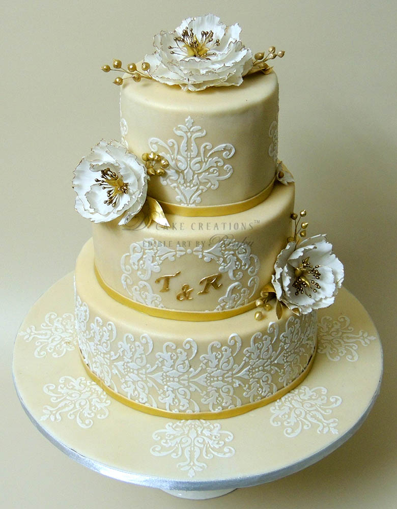 Golden Damask Cake