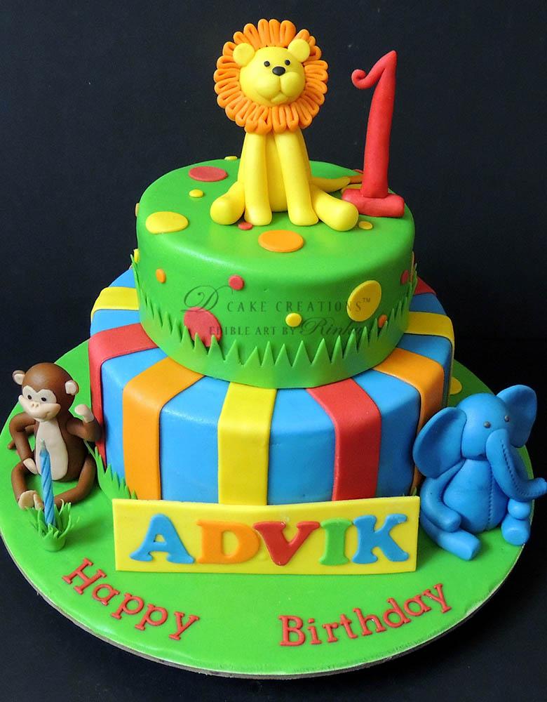 Animal Theme Two Tier Cake