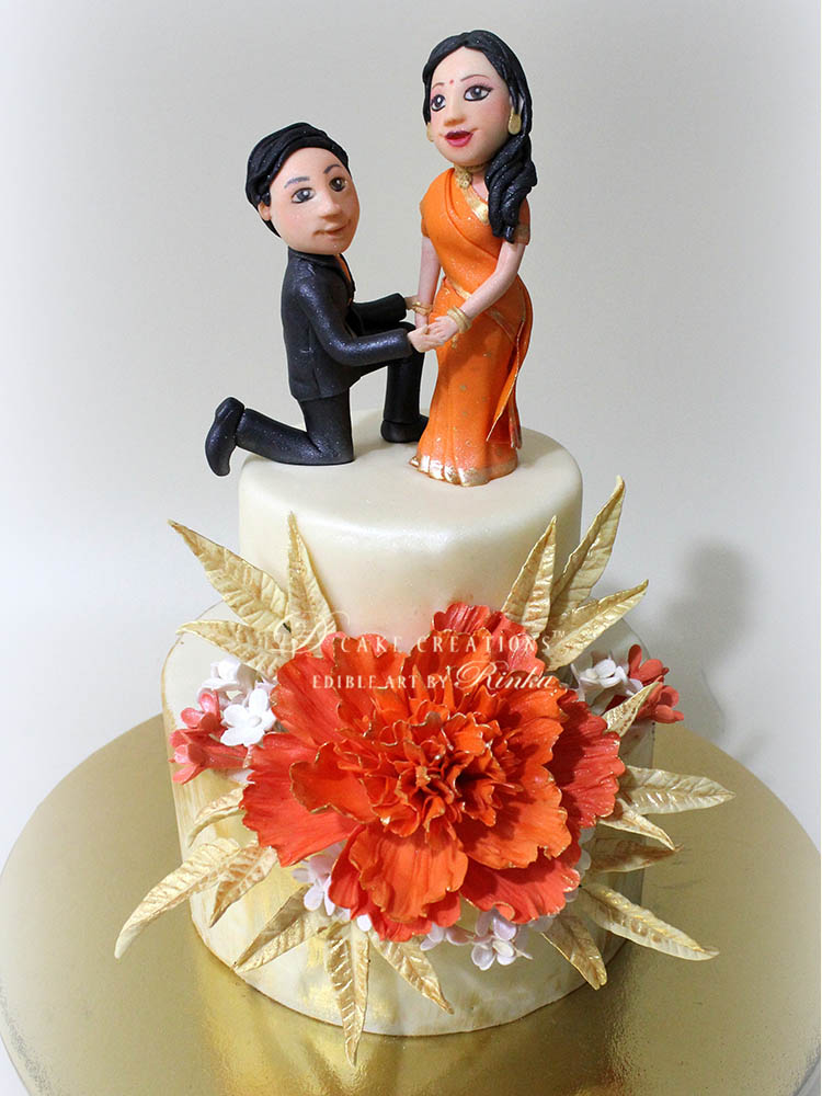 Couple Topper Engagement Cake