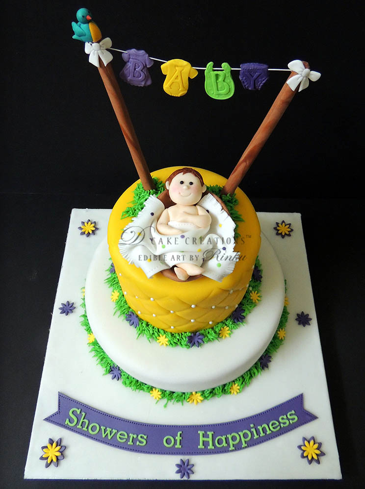 Baby Topper Name Announcement Cake