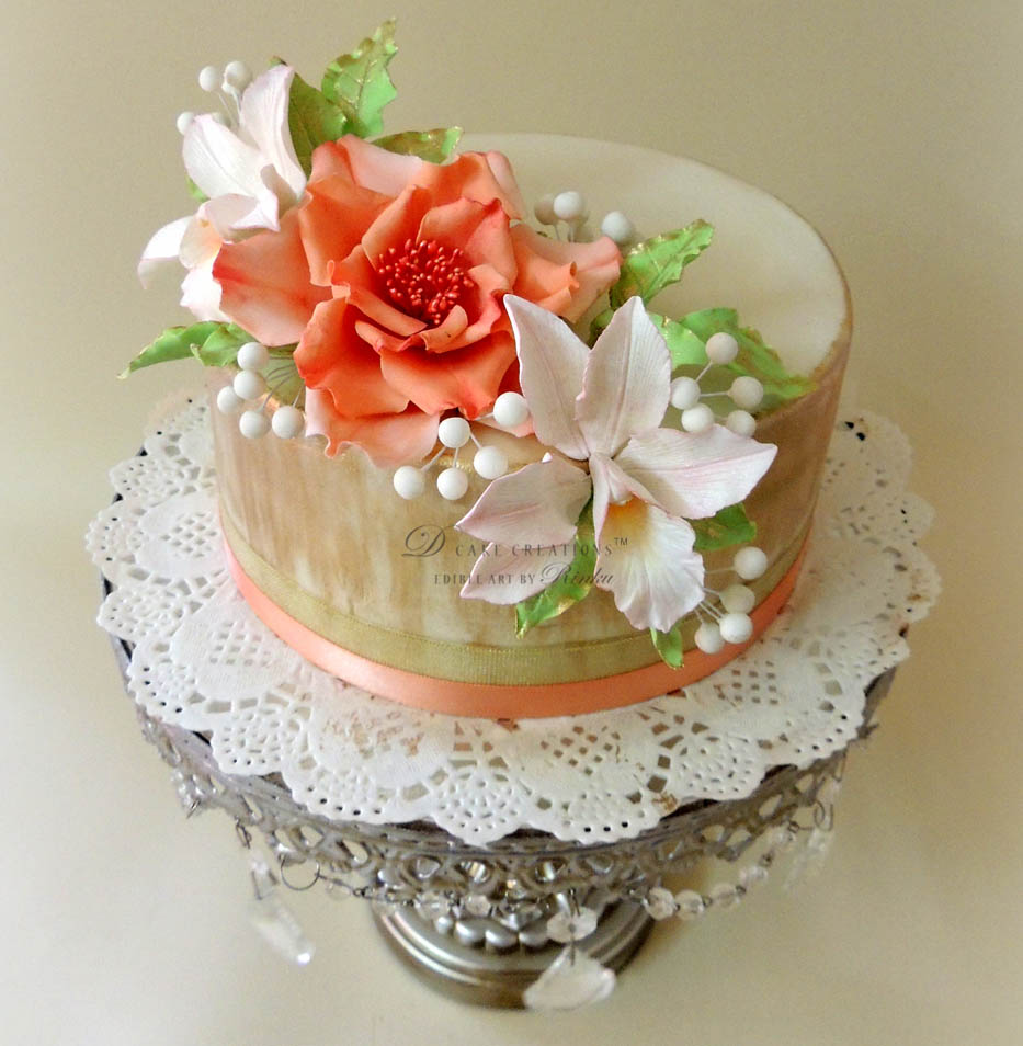 Rose & Orchids Cake