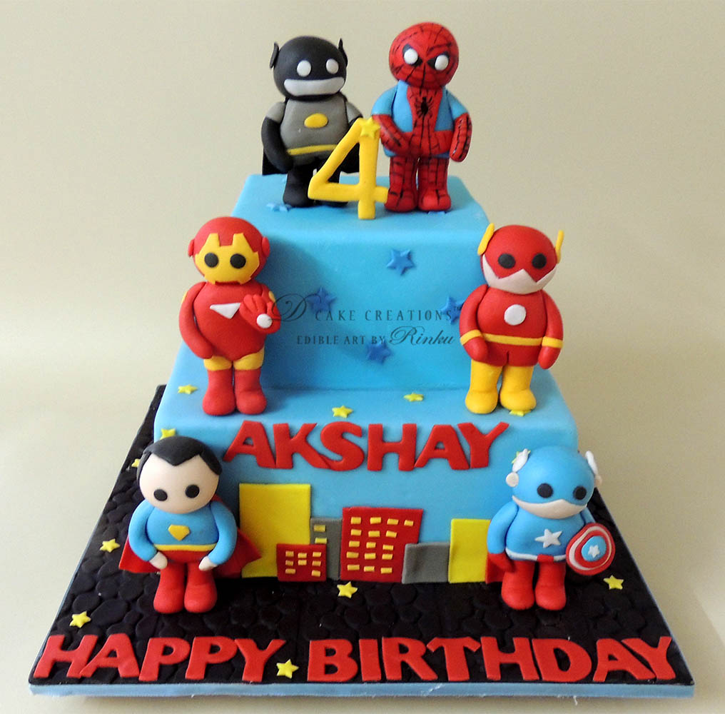 Super Hero Theme Cake