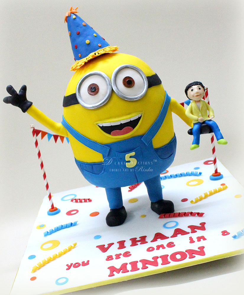 Minion Cake with Boy Topper