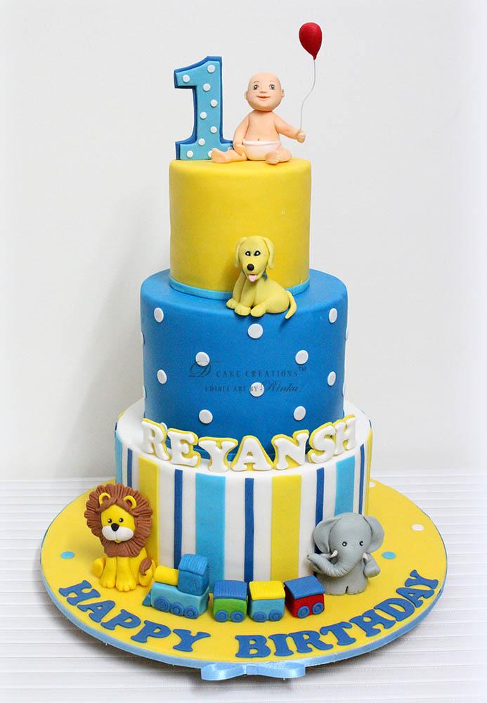 Baby & Animal Topper Cake