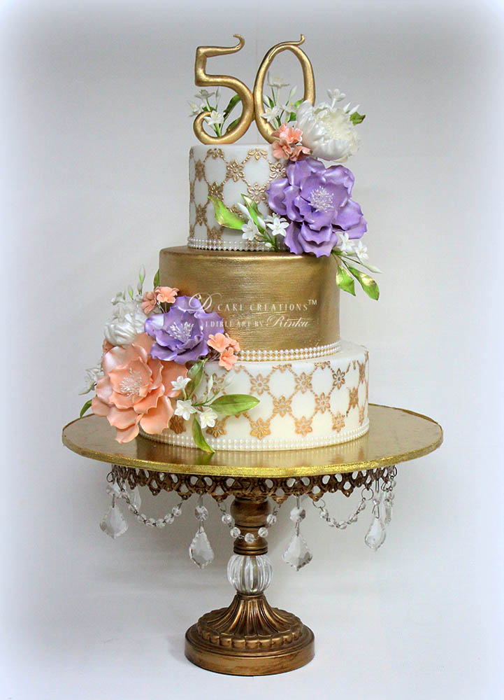 Open Roses and Peony Cake