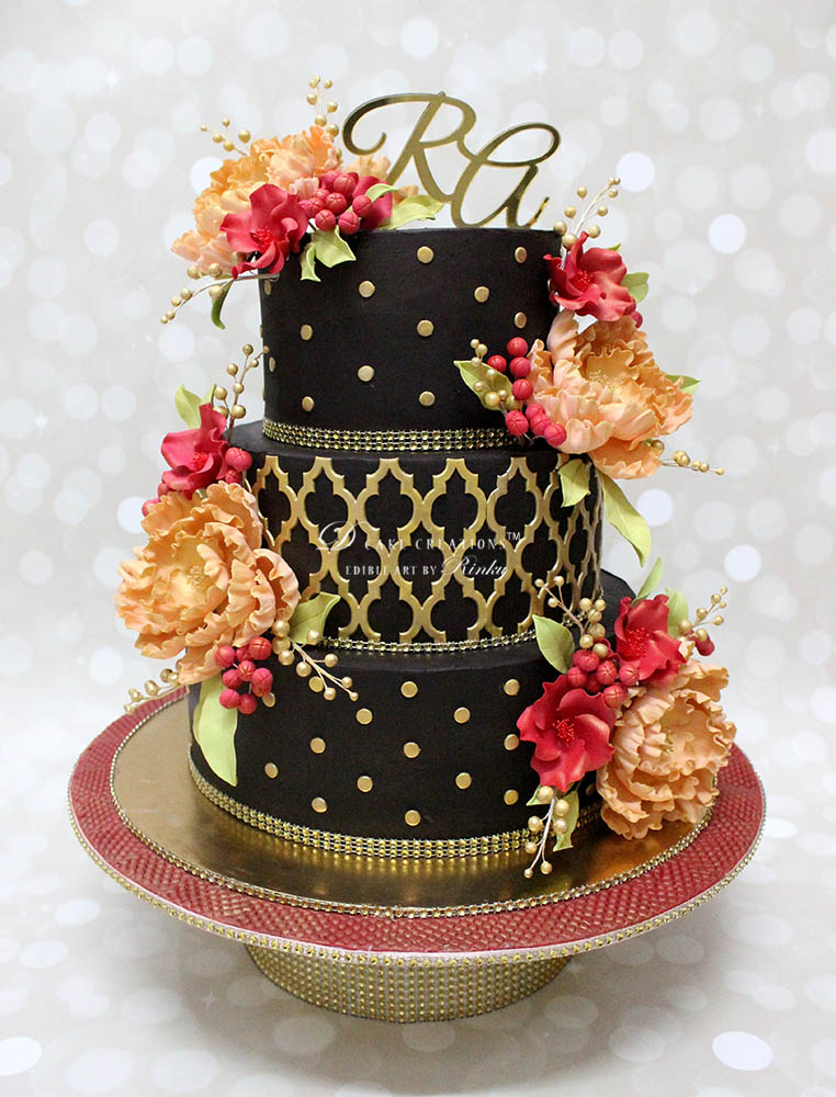 Chocolate Cake with Sugar Flowers