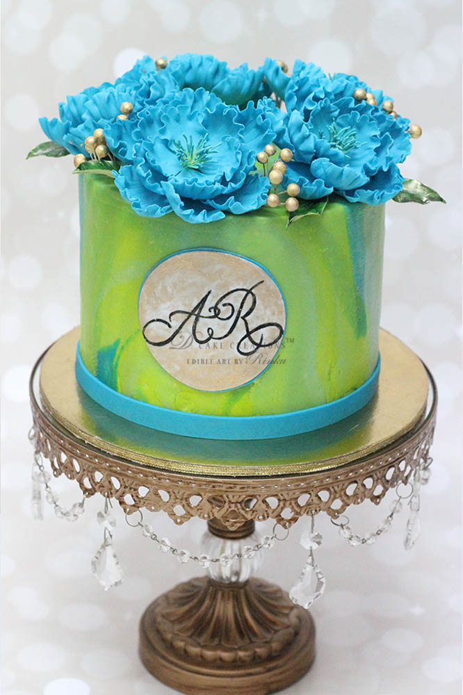 Turquoise and Pistachio Cake