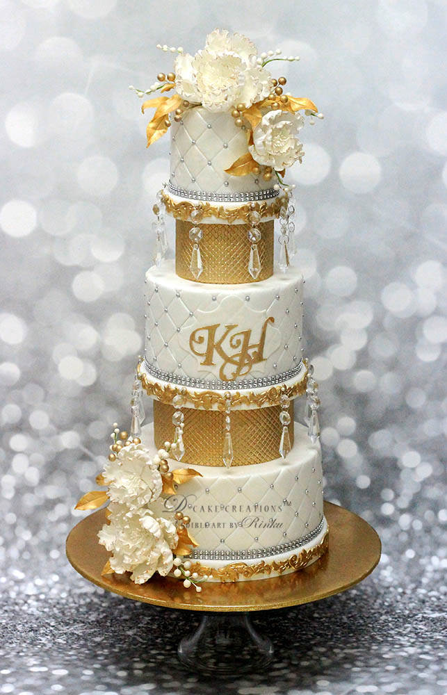 White Engagement Cake with Gold Glitter