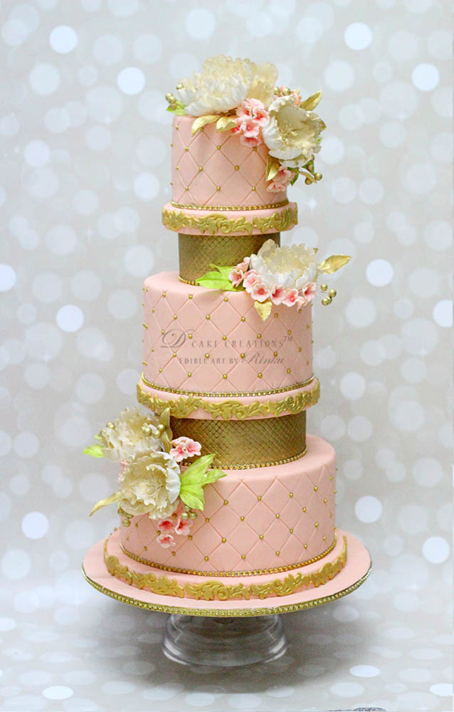 Five Tier Pink & Gold Cake