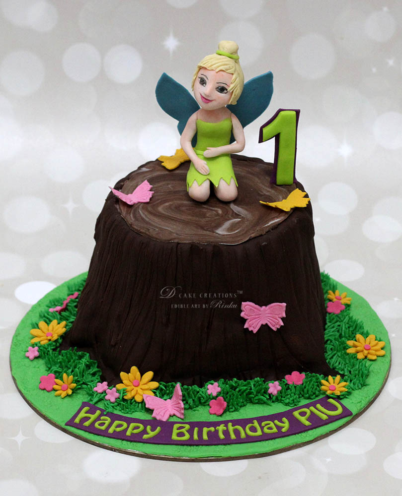 Tree Trunk Cake with Tinker Bell